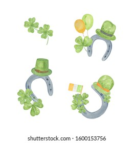 A set of watercolor hand drawn arrangements, symbolic decoration for a national spring Irish holiday St Patrick's day, horseshoe, green shamrock leaves, balloons, top hats