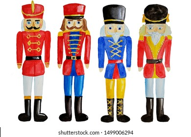 Set of watercolor hand drawn wooden toy soldier - nutcracker.