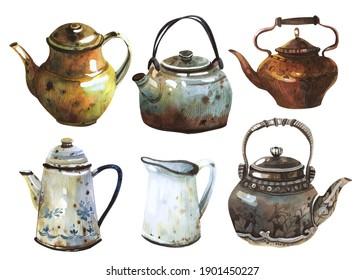 Set of watercolor hand made illustrations of antique dishes. Antique jugs, copper teapots, handmade clay teapot. The basis for your decor