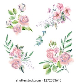 Set of Watercolor hand painted flowers, leaves and plants. Pastel bouqoet perfect for summer wedding invitation and party card making - Illustration
