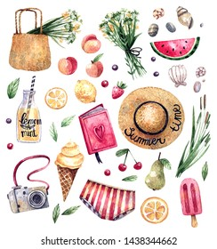 Set of watercolor hand-drawn illustrations on summer theme. Straw hat, bouquet, basket of flowers, berries, fruits, photo camera, swimsuit - watercolor illustrations.