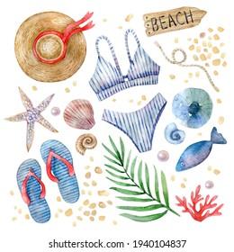 A set of watercolor hand-drawn illustrations on a marine theme. Straw hat, swimsuit, beach flip-flops, seashells, starfish, palm branch, pearls, fish - summer watercolor illustrations.