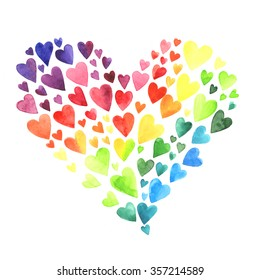 Set of watercolor hearts. Colors of rainbow.
