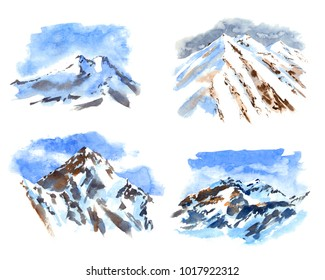 Set of Watercolor illustration of the highest mountains