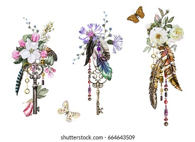 Set watercolor illustration with roses and other flowers,  keys and feathers. Tribal background with flowers, jewelry, butterfly. Cool print on T-shirt, Tattoo. Vintage