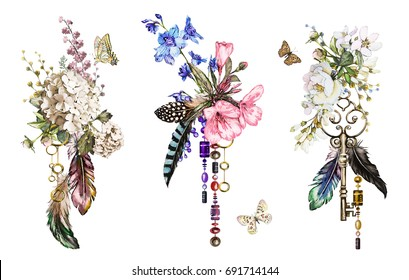Set watercolor illustration with roses and other flowers,  keys and feathers. Tribal background with flowers, jewelry, butterfly. Cool print on T-shirt, wildflowers, Tattoo. Vintage