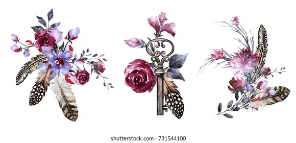 Set watercolor illustration with roses and other flowers,  keys, feathers. Tribal background with flowers, jewelry. Boho Cool print on T-shirt. Vintage