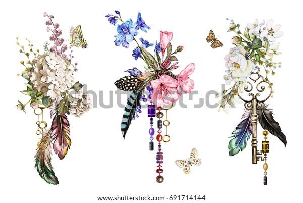 バラやその他の花 鍵 羽を使った水彩イラストをセットします 花 宝飾品 蝶々のある部族の背景 Tシャツ 山の花 タトゥーにかっこいい印刷 ビンテージ の イラスト素材