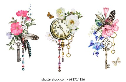 Set watercolor illustration with roses and  wildflowers,  keys, clock and feathers. Tribal background with flowers, jewelry, butterfly. Cool print on T-shirt, Tattoo. Vintage