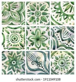 Set of watercolor illustrations - ceramic tile stylization with green ornaments. Azulejos portugal, Turkish ornament, Moroccan tile mosaic, Talavera ornament.