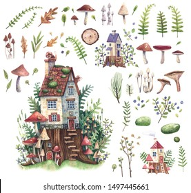 Set of watercolor illustrations with forest houses, plants, mushrooms, berries, leaves. Illustration for postcards, books or paintings.