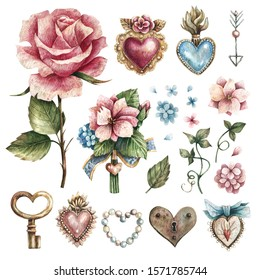 Set of watercolor illustrations in vintage style with flowers, leaves, hearts, precious stones. Illustrations for Valentine's day or wedding, hearts elements, floral elements.