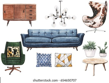 Set of watercolor mid century furniture for living room: blue sofa, green armchair, cow skin armchair.