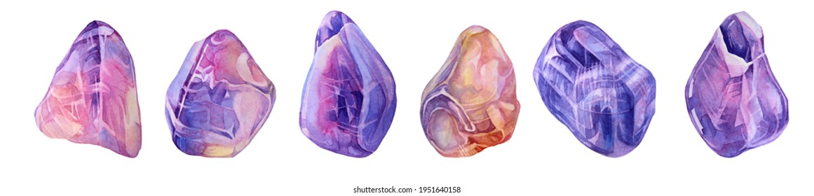 Set watercolor mineral crystal pink purple quartz and amethyst isolated on white background. Hand-drawn treasure gemstone for meditation, office supplies, sketchbook, celebration, wallpaper, wrapping