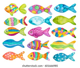 Set of watercolor painted fishes