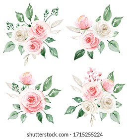 Set watercolor painting flowers, floral  design, illustrations with pink, white roses and leaves. Decoration for poster, greeting card, birthday, wedding invitation. Isolated on white background.