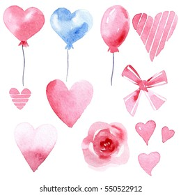 set of watercolor pink and blue balloon, ribbon, bow, heart, flower