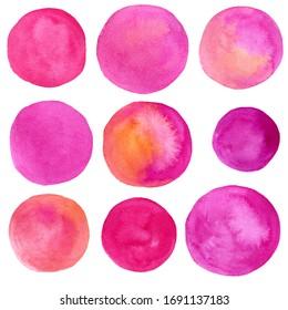 set of watercolor pink circles