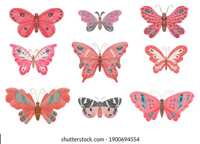 Set of watercolor pink and red butterflies