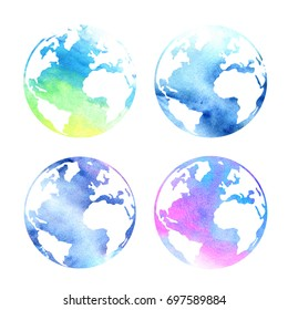 Set of watercolor planets Earth on a white background. Beautiful abstract spot.