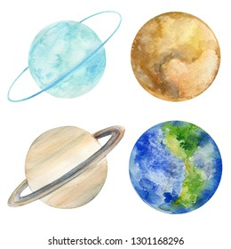 set of watercolor planets on an isolated white background, space, illustration, hand drawing, saturn, pluto, earth, uranium