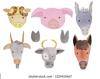 Set of watercolor portraits of farm animals - cow, sheep and goat with hoof marks. watercolor illustration for prints, posters, cards, design.