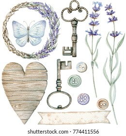 Set of watercolor provence elements