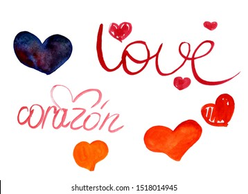 Set of watercolor red, orange and blue hearts and inscriptions love and corazon on a white background