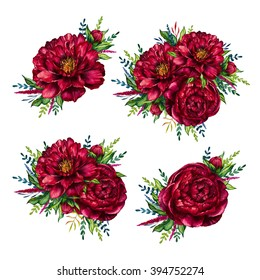 Set von Aquarellbäumen mit roten Pfannenbäumen, Aquarellblume, einzeln auf weißem Hintergrund, Design für den Muttertag, Frauentag, Hochzeit, Karte, Urlaub, Einladung, speichern Sie das Datum
