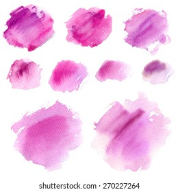 Set of watercolor stains, abstract design elements, on a white background, color circles