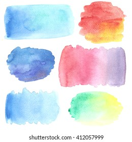 Set of watercolor stains. Raster illustration. Colorful abstract texture. Artistic handdrawn background.