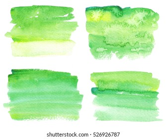 Set of watercolor stains. Spots on a white background. Gradient. Abstract spots. Green, yellow. Gradient. Isolated spots.