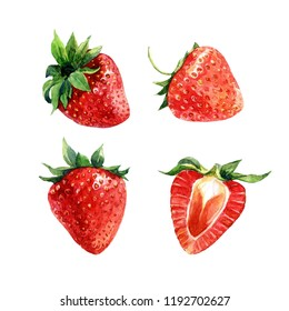 Set of watercolor strawberries, whole berries and cut.
