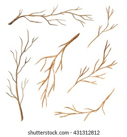 Set of watercolor tree branches without leaves. Hand drawn bare snags isolated on white background. Thin delicate leafless sticks