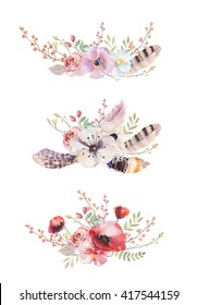 Set of watercolor vintage floral bouquets. Boho spring flowers and leaf  frame isolated on white background.