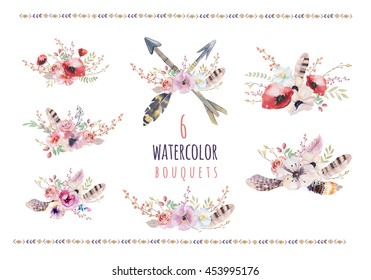 Set of watercolor vintage floral bouquets. Boho spring flowers and leaf  frame isolated on white background: succulent, branches, leaves, feathers, berries, peony, rose. Hand painted natural design