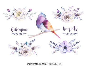 Set of watercolor vintage floral bouquets, bird with feather. Boho natural spring flower rose and leaf frame isolated on white background. Bohemian autumn chic.