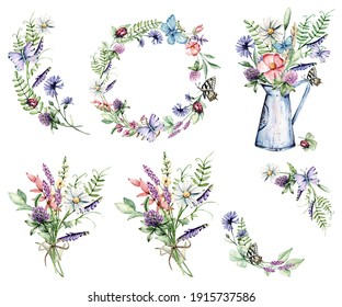 Set watercolor wild flowers, butterfly, watering can, chamomile, clover, cornflower hand painting, floral vintage bouquet for poster, greeting card, birthday, wedding design. Isolated on white.