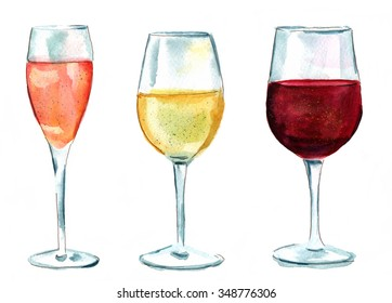 A set of watercolor wine glasses (sparkling rose, white, and red), isolated on white