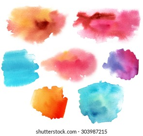 A set of watercolour design elements on white background