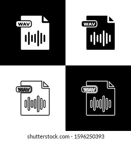 Set WAV file document. Download wav button icon isolated on black and white background. WAV waveform audio file format for digital audio riff files.