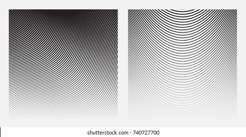 Set of Wave Oblique Smooth Lines Pattern in Raster