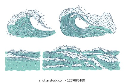 set waves sea ocean. Big and small azure bursts splash with foam and bubbles. Outline sketch illustration isolated on white background. Raster copy