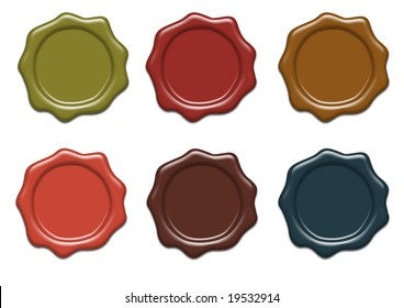 Set of wax seals of different colors