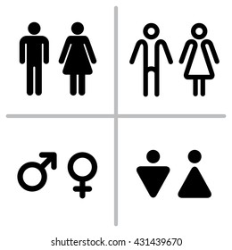 Set of WC icons isolated on a white background. Washroom icon. Restroom sign. Gender icon. Male and female sign collection. Gender symbols. Man and woman icon