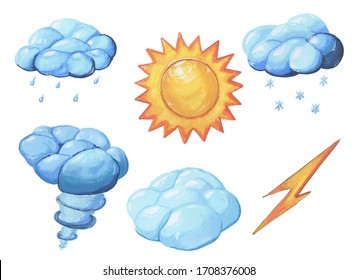 Set of weather icons, marker style. Handmade elements. A set of icons to display different weathers, namely the sun, cloudy, wind, hurricane, rain