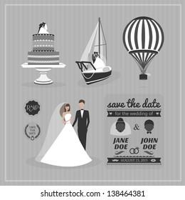 Set of wedding design elements