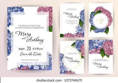 Set of wedding invitation card flowers hydrangea. A5 wedding invitation design template on white background. Hand drawn colorful marker illustration.Doodle sketch line on white background frame
