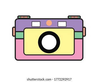 A set of whimsical flat design camera illustrations in pastel colors