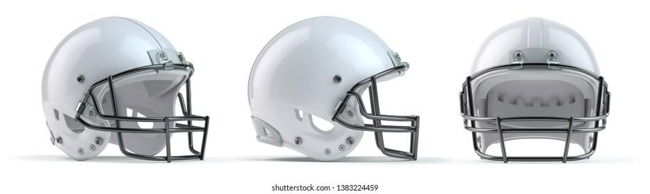 Set of white  american football helmets isolated on white background. 3d illustration